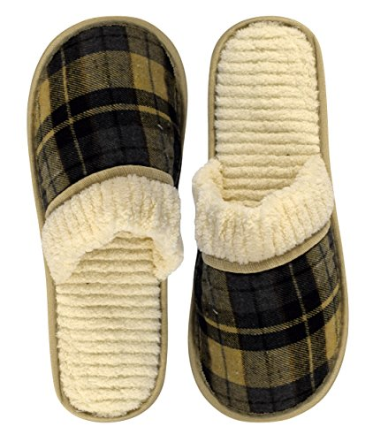 Peach Couture Hombres Fleece Forrado Relajante Estilo Nórdico House Slippers Cream Navy Plaid