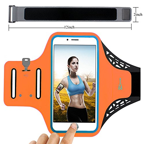 Sports Armband FABOOD Running Armband Sports Phone Holder for iPhone 7/ 6 / 6s and Other Smartphones with Screens up to 4.7 Inches with Key Card and Headphone-Cable Slots - Sporty Neoprene Phone Case