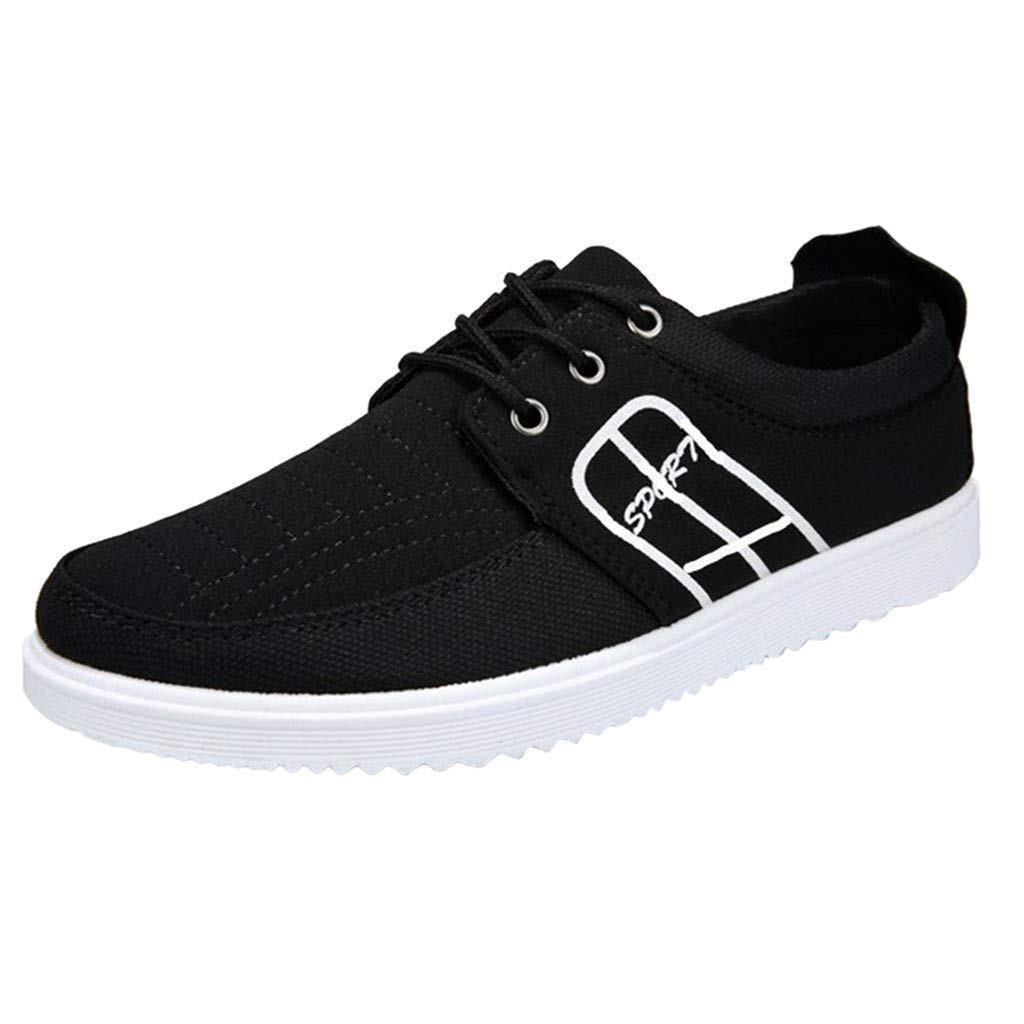 Men's Canvas Sneakers - Summer Casual Low Top Lace Up Shoes Lightweight Vintage Outdoor Hiking Shoe Footwear (Black, US:7) by Cealu