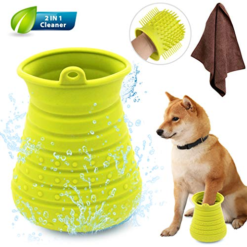 Idepet Dog Paw Cleaner Cup with Towel Pet Foot Washer Protable Dog Cleaning Brush for Puppy Cats Massage Grooming Dirty Claws (Green)