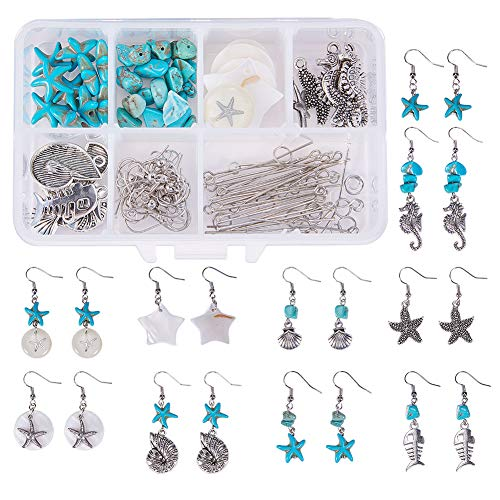 SUNNYCLUE 1 Box DIY 10 Pair Starfish Seahorse Shell Dangle Earring Making Kit Jewelry Making Supplies Beading Starter Kits for Beginner Adults, Fish Hook, Ocean Beach Theme