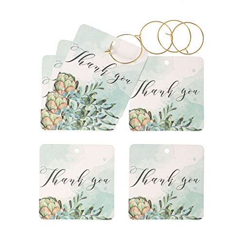 Ling's moment 24 Pcs Personalized Thank You Tags Kraft Paper Gift Tags for Fall Wedding Favors Bridal Baby Boy Girl Shower Birthday Party Christmas Thanksgiving (Pack of 24 Gold (Bridal Shower Gift Tags)