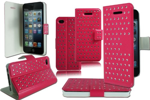 New Slim Pink Diamant Bling Flip Wallet Schutzhülle für Apple I Phone 4 4 G 4S