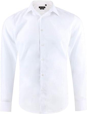 Camisa Hombre Slim fit Ajustada Blanca Mangas largas Cuello con botón Talla XXL: Amazon.es: Ropa y accesorios