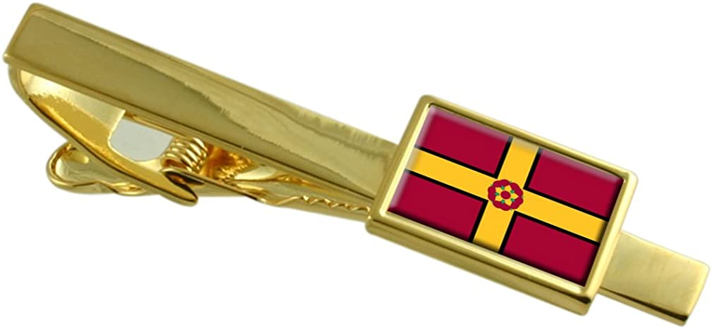 Northamptonshire County England Flag Gold-tone Tie Clip Engraved Personalised