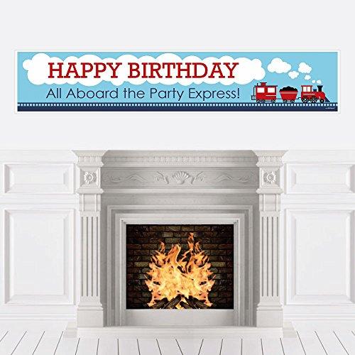 Big Dot of Happiness Railroad Party Crossing - Steam Train Birthday Party Decorations Party Banner -