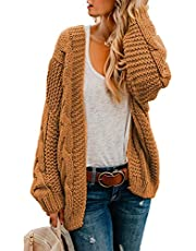 Astylish Womens Cardigans Ladies Autumn Warm Cozy Open Front Long Sleeve Chunky Cable Knit Ribbed Cardigan Sweater Large Size 12 14 Yellow Brown