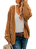 Astylish Womens Fashion Winter Warm Cozy Open Front Long Sleeve Chunky Knit Cardigan Sweater Outwear Coat Medium 8 10 Yellow Brown: more info