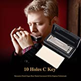 Harmonica 10 Hole Key Of C Blues Harmonica with Case for Kids Gift Beginner Students Mouth Organ Musical Instrument (FH-02 10 Holes C)