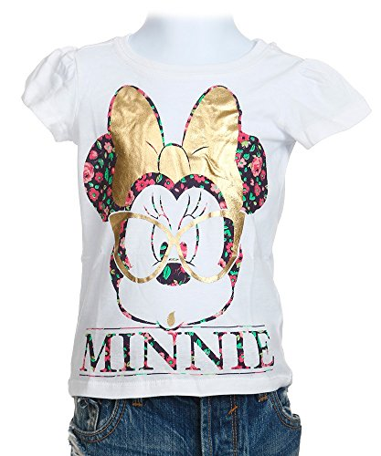 Disney Little Girls' Minnie Mouse Glasses Pose Girls T-Shirt, White, 3T