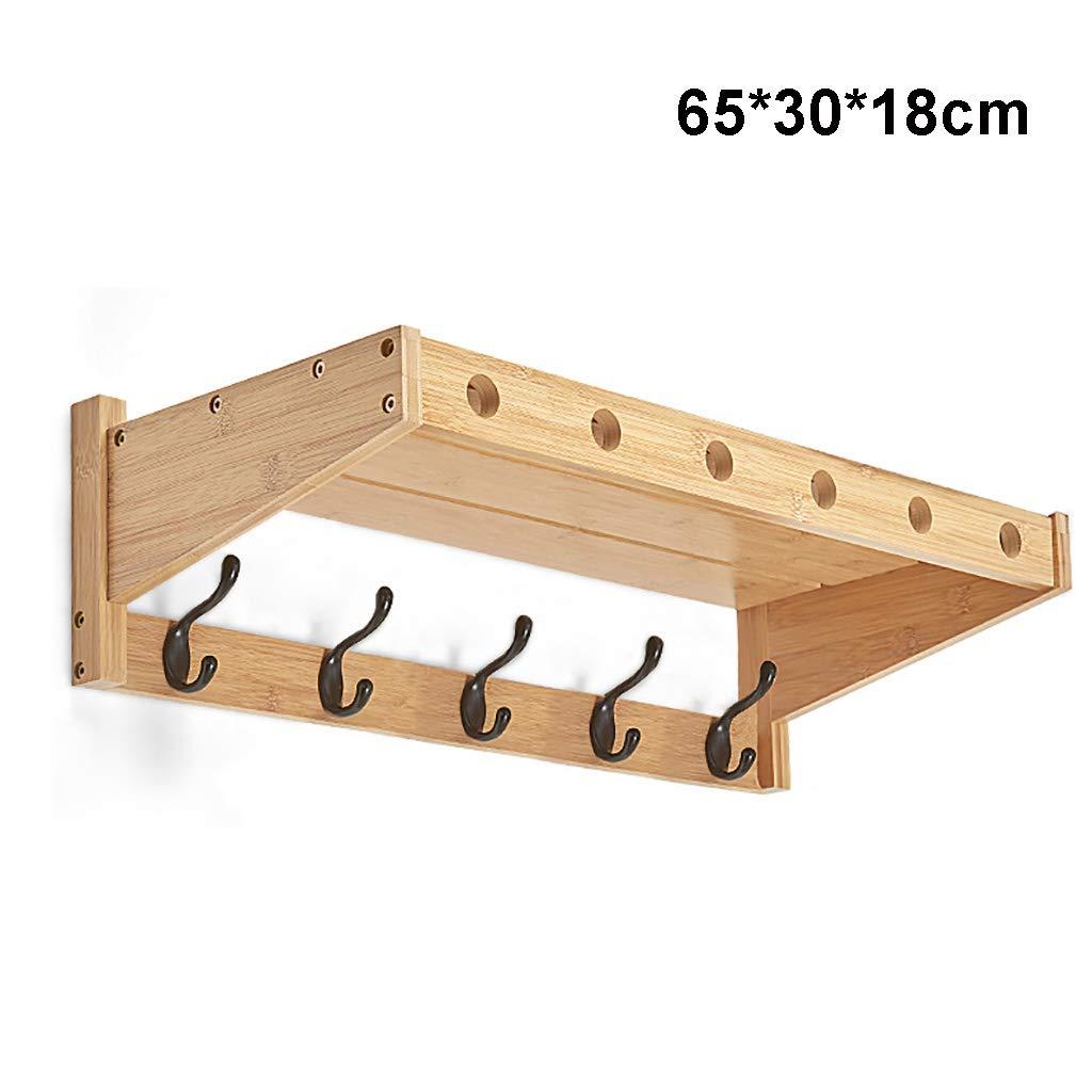 壁掛けのコートラック竹の壁の棚金属製のフック付き装飾的な棚(65×30×18センチメートル)   B07PDVSQKL