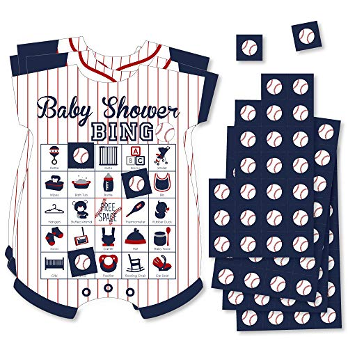 Batter Up - Baseball - Picture Bingo Cards and Markers - Baby Shower Shaped Bingo Game - Set of 18