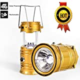LED Camping Lantern - 3-in-1 Rechargeable Solar Ultra Bright Led Camping Lantern & Portable Outdoor Survival Lamp for Fishing ,Emergency,Hurricanes,Hiking,Hunting,Storm (Gold)
