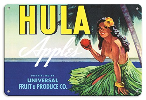 Pacifica Island Art 8in x 12in Vintage Tin Sign - Hula Brand Apples - Topless Hawaiian Girl Holding Apple - Universal Fruit and Produce Co.