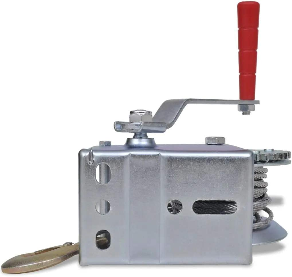 Cabrestante manual con 10M cable remolques Fuerza de Tracci/ón 1200 lbs Cabrestante de camiones