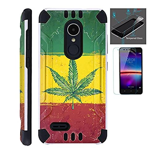 For ZTE Blade X Max Case / ZTE Carry Case / ZTE ZMax Pro Case + Tempered Glass / Slim Dual Layer Brushed Texture Armor Hybrid TPU KomBatGuard (Weed Nation (Weed Zte Phone Cases)