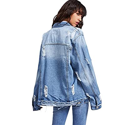 Floerns Women's Ripped Distressed Casual Long Sleeve Denim Jacket at Women's Coats Shop