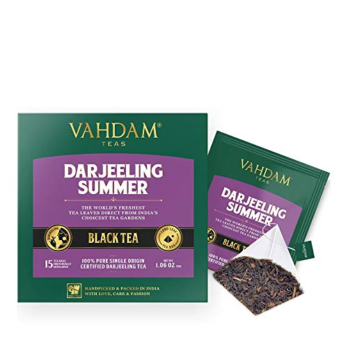 VAHDAM, Darjeeling Black Tea from Himalayas (30 Tea Bags) | Medium Caffeine, High Energy Tea | 100% Certified Pure Unblended Darjeeling Tea Bags from India | Brew Hot, Iced or - Afternoon Tea Darjeeling
