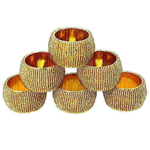 Annanya Creations Handmade Indian Silver Beaded Napkin Rings - Set of 6 Rings (Golden)