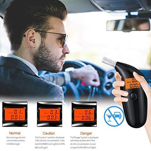 TUT Alkoholtester, Professionelles Atemalkoholmessgerät mit Halbleiter Sensor,Tragbar Auto Breathalyzer mit 5 Mundstücken, Digitaler Atemalkoholtester mit LCD Display