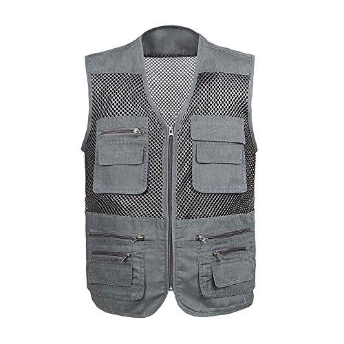 Oeak Men's Fishing Vest Photography Work Utility With Mult-Pockets For Hunting, Adventure, Fishing, Shooting, Hiking, Camping, Mountaineering Grey Large