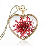 Women Dry Flower Heart Glass Wishing Bottle Pendant Necklace by TOPUNDER