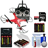 Vivitar DRC-120 Camera Aerial Quadcopter Drone (Red) 16GB Card + Battery + Charger + Kit