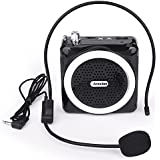 Arssilee Wireless Black Voice Amplifier With Personal Microphone Rechargeable Loud Speaker With Wired Headphone for Teachers Presentations