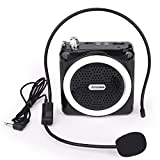 Arssilee Portable Rechargeable Mini Voice Amplifier With Wired Microphone Headset and Waistband, Supports MP3 Format Audio for Teachers, Singing, Coaches, Training, Presentation, Tour Guide-(Black)