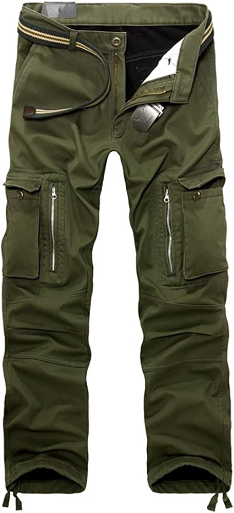 OCHENTA Mens Outdoor Fleece Lined Casual Military Work Cargo Pants