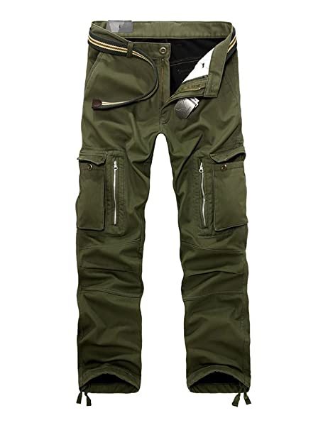 faeee9a41c OCHENTA Men's Outdoor Fleece Lined Casual Military Work Cargo Pants Army  Green 28