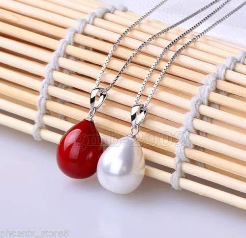 FidgetKute 2PCS Women's 12x16mm Red & White Drop South Sea Shell Pearl Necklace Pendant ()