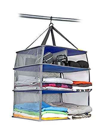 Valet Luggage Compression Shelves with Storage Case, Gray, One Size