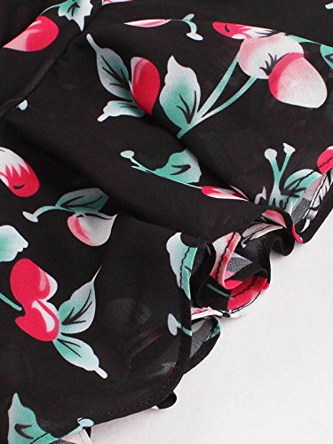 Women's Dress Neck V Flower Pretty Cute Print Black Summer CASF HxqZpw7Z