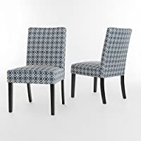 Charleston Navy / White Fabric Dining Chair