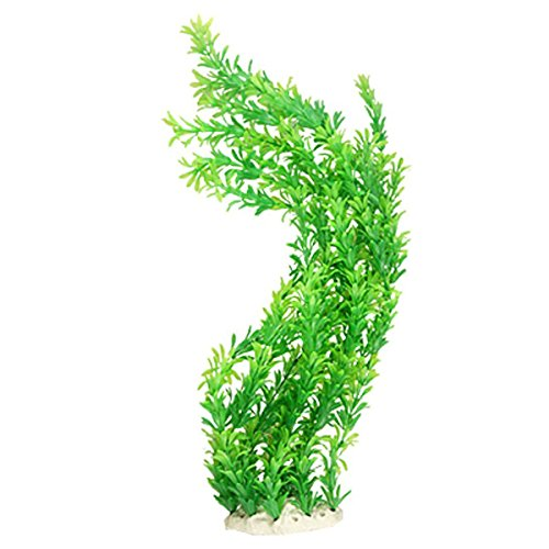 Saim 24″ Green Leaves Emulational Aquatic Plastic Plant for Fish Tank Aquarium
