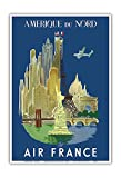 Amérique du Nord (North America) - France - See New York City and Paris landmarks - Vintage Airline Travel Poster by Luc-Marie Bayle c.1948 - Master Art Print - 13in x 19in
