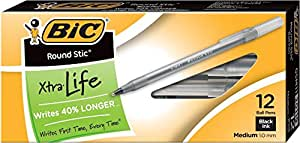 BIC Round Stic Xtra Life Ball Pen, Medium Point (1.0 mm), Black, 12-Count