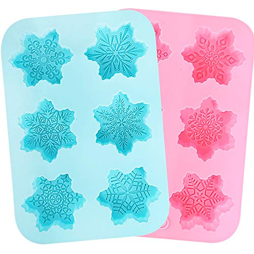 Dish Mold (Holicolor Silicone Soap Mold - 2 Snowflake Cake Soap Handmade Christmas Mold - BPA Free & Dishwasher Safe (Snowflake))