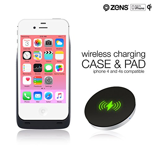ZENS iPhone 4 4S Wireless Qi Charging Receiver Case and Wireless Charger Pad Bundle Effective Wireless Charging for Your iPhone with a Slim Design | Qi Certified and Apple MFi Certified