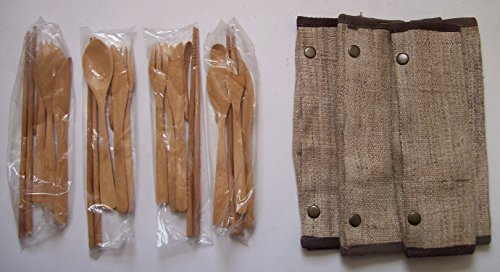 (Hemp 100% NATURAL Bamboo Utensils Case Pouch 2GO Spoon Fork Chopsticks Soup knife Organic Food dining dinner lunch picnic washable sets eating utensil)