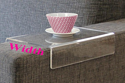 """""""Anabelle"""" Clear Acrylic Arm Rest Caddy - Arm Tray Table For Sofa Couch Upholstered Stool - Arm Chair Caddy - Ottoman Wrap Tray - 12x9x4"""" or customized"""