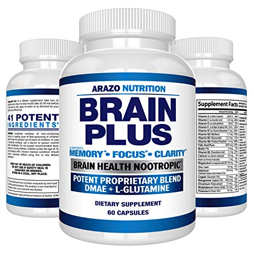 - Premium Brain Function Supplement – Memory, Focus, Clarity – Nootropic Booster with DMAE, Bacopa Monnieri, L-Glutamine, Multi Vitamins, Multi Minerals - Arazo Nutrition