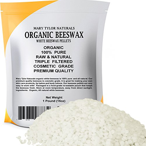 Organic White Beeswax Pellets 1lb (16 oz) Premium Quality, Cosmetic Grade, Triple Filtered Bees Wax Pastilles Great for DIY Lip Balm Recipes Body Creams Lotions Deodorants By Mary Tylor Naturals
