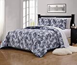 xl twin quilt bedspread - Mk Home 2pc Twin/Twin Extra Long Bedspread Quilted Print Floral Paisley Flower White Navy Blue Reversible Over Size New # Ellen 63