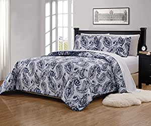 Mk Home 2pc Twin/Twin Extra Long Bedspread Quilted Print Floral Paisley Flower White Navy Blue Reversible Over Size New # Ellen 63