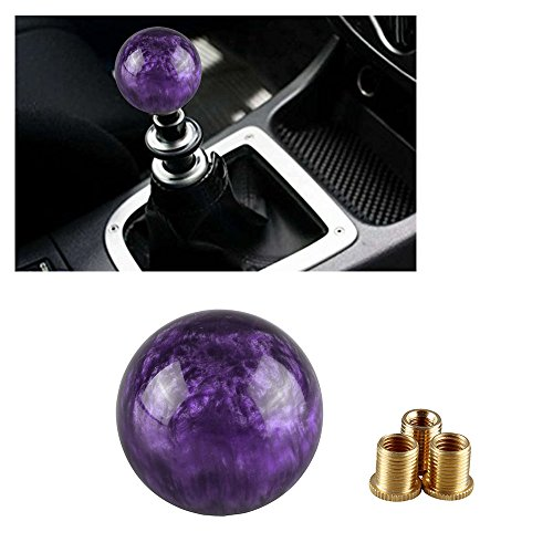 Ruien Marble Style Round Ball Gear Shift Knob Purple With 3 Adapters M8×1.25 M10×1.25 (Rock Knob)