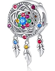 Dream Catcher Charm fit Pandora Charms Bracelet 925 Sterling Silver Feathers Tassel Bead Charm with Colorful Stones Pendant for European Bracelets Necklace…