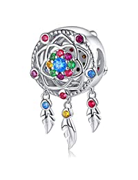 FOREVER QUEEN Dream Catcher Charm fit Pandora Charms Bracelet 925 Sterling Silver Feathers Tassel Bead Charm with Colorful Stones Pendant for European Bracelets Necklace
