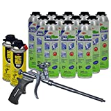 Dow Enerfoam 30oz Gun Dispensed Foam (12) + AWF Teflon Pro Foam Gun (1) + Great Stuff Pro foam Gun Cleaner (2)